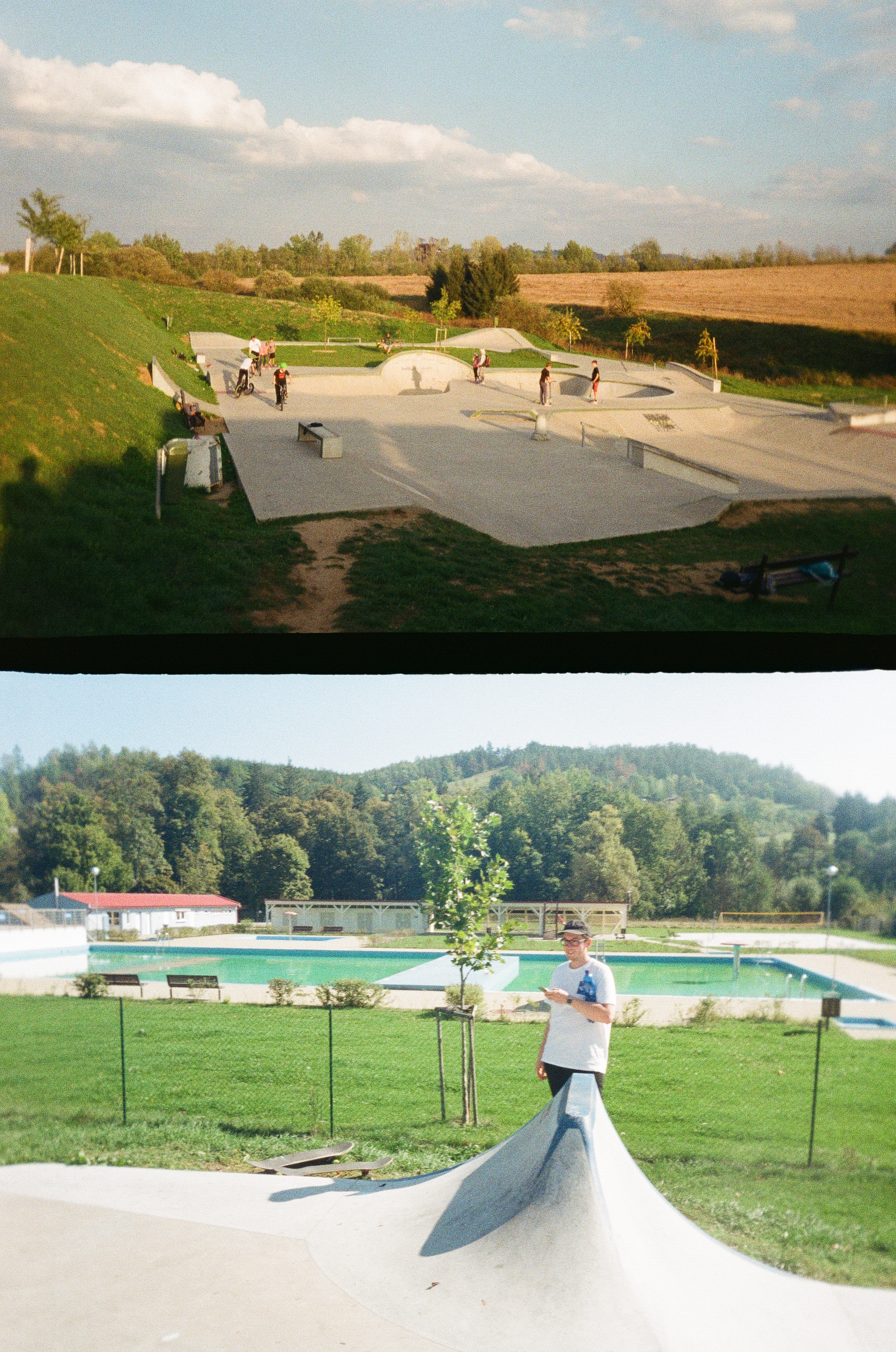 Vzpomínky na letní concrate bowl trípek do jižních čech a Plzně. Na fotce Klatovy.